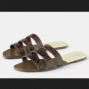 Zara Brown Leather Embossed Sandal Slides size 8